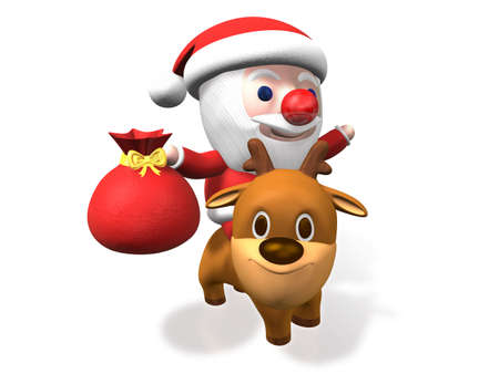 toy sack: santa with his sack on rudolph back,3d