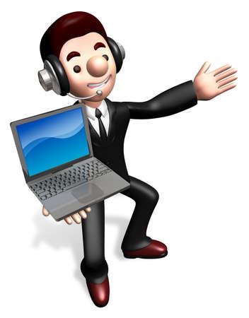 grasp: The laptop sale shop staff grasp. 3D Business Character
