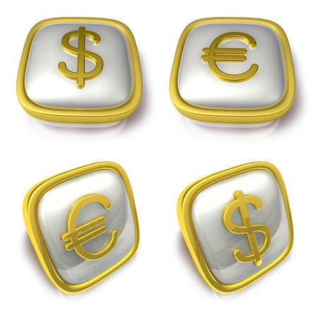 exporter: Dollar and EUR 3d metalic square Symbol button . 3D Icon Design Series. Stock Photo