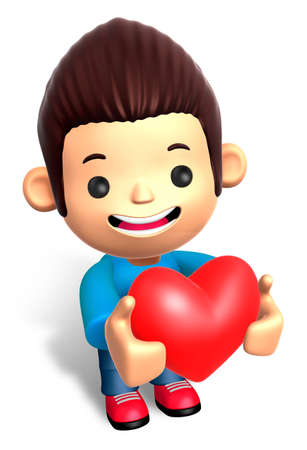grasp: A Man Grasp a Heart. 3D Children Character