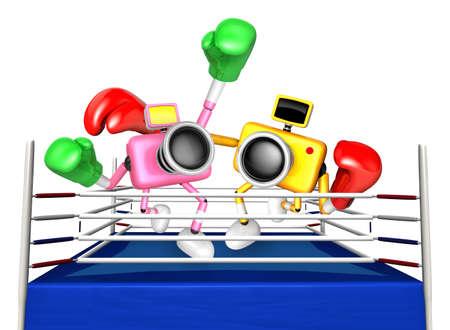 pugilism: Pink camera and Yellow camera Boxing match. Create 3D Camera Robot Series.