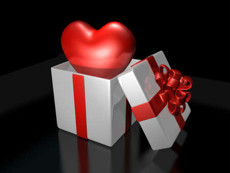 fancy sweet box: 3d cute heart popping up in the decorated white gift bax . Valentine 3D Illustration Design Series.