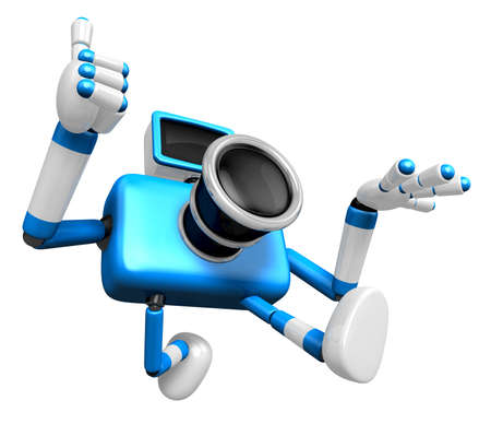 rushing: Rushing toward the left side of the Blue Camera Character. Create 3D Camera Robot Serie.