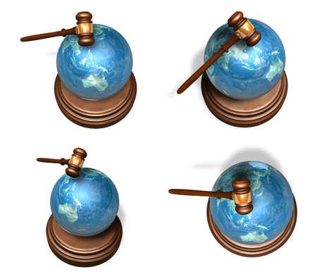 martillo juez: 3d rango globo azul y un martillo juez conjunto de cuatro