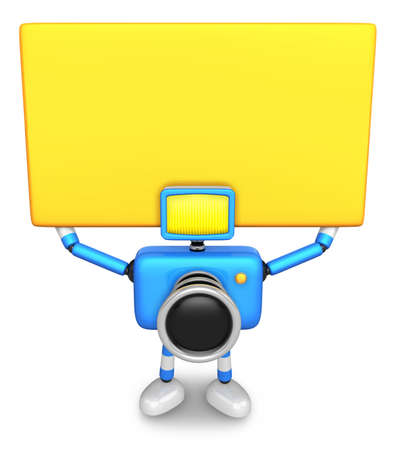 allegiance: Blue Camera Character up yellow board a thing with both hands. Create 3D Camera Robot Series. Stock Photo