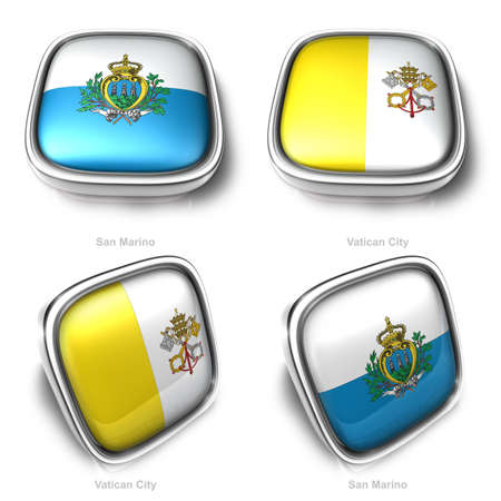 vatican city: SanMarino and Vatican City 3d metalic square flag button Stock Photo