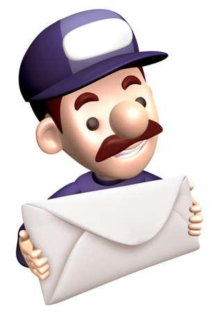 grasp: Service man Grasp a big letter. 3D Service Man Characte