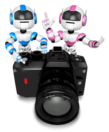 humanoid: Blue robot and pink robot Big Camera the photographing. Create 3D Humanoid Robot Series. Stock Photo