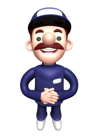 polite: 3D Service man Mascot is a polite greeting. Work and Job Character Design Series. Stock Photo
