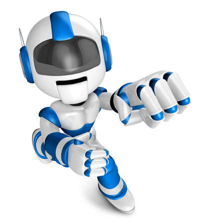pugilism: Blue Robot Character and a boxing play. Create 3D Humanoid Robot Series. Stock Photo