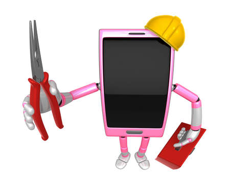 cellularphone: 3D Smart Phone Mascot holding a with both Lone Nose and toolbox. 3D Mobile Phone Character Design Series. Stock Photo