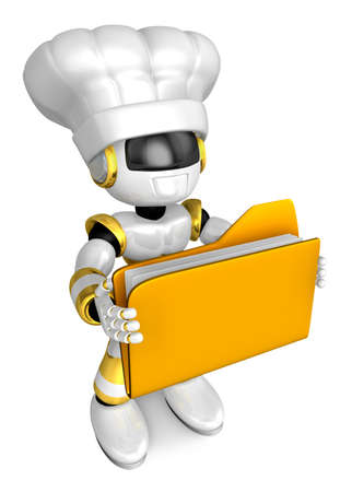 office automation: Gold Robot Character is holding a folder with both hands. Create 3D Humanoid Robot Series.