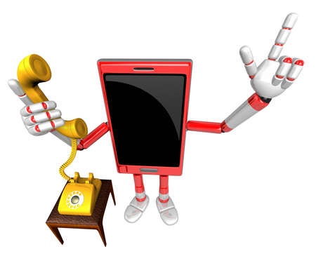 call me: 3D Smart Phone Mascot Please call me today. 3D Mobile Phone Character Design Series.