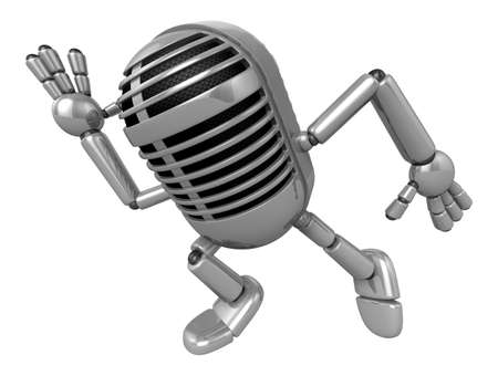 allegiance: 3D Classic Microphone Mascot on Running. 3D Classic Microphone Robot Character Series.