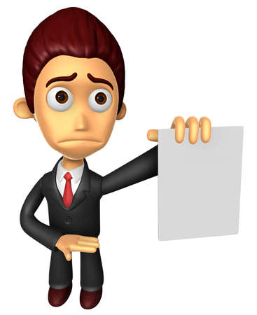 apprehension: 3D Business man mascot Anxious look holding a paper document. Work and Job Character Design Series.