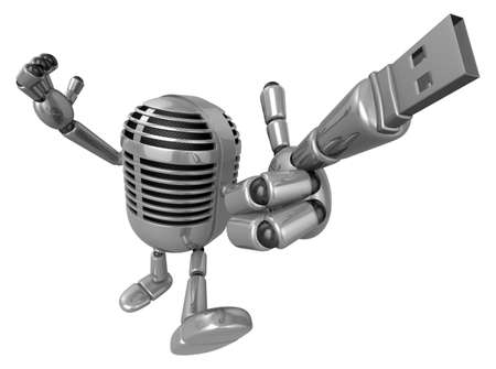 robot with shield: 3D Classic microphone is connected to a USB memory stick fingertips. 3D Classic Microphone Robot Character Series. Stock Photo