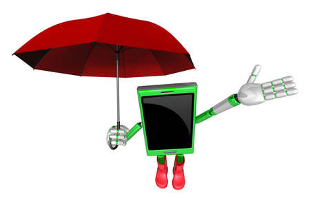 cellularphone: 3D Smartphone Mascot is an umbrella in taking shelter from the rain. 3D Mobile Phone Character Design Series.