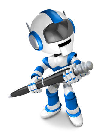 fidelity: Blue robot Character ballpoint pen a handwriting. Create 3D Humanoid Robot Series. Stock Photo