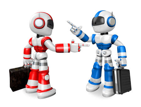 strife: Blue robot and Red robot face each other point the finger. Create 3D Humanoid Robot Series.