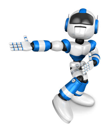 strife: Blue robot character Pointing toward the front. Create 3D Humanoid Robot Series.
