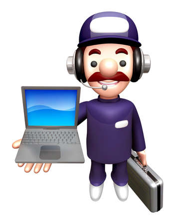 personality character: 3D Service men Mascot to promote Laptop. Work and Job Character Design Series.