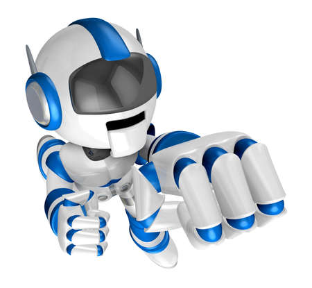fidelity: Blue Robot Character and a boxing play. Create 3D Humanoid Robot Series. Stock Photo