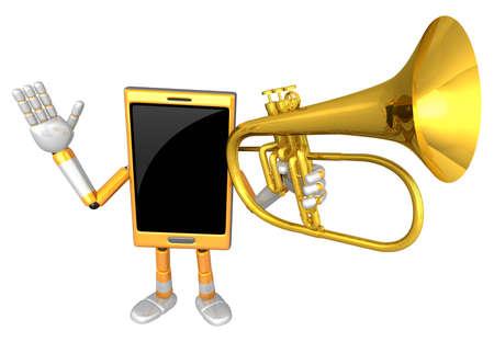 flugelhorn: 3D Smart Phone Mascot has to be playing the flugelhorn. 3D Mobile Phone Character Design Series.