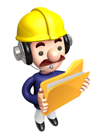 to seize: 3D construction staff hand Grasp the folder. Work and Job Character Design Series.