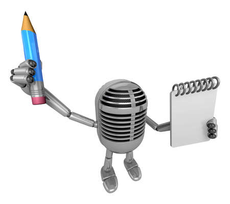 fidelity: 3D Classic Microphone Mascot hand is holding a notebook and Pencil 3D Classic Microphone Robot Character Series.