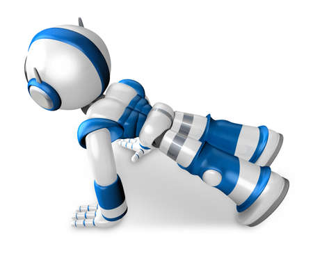 pushup: The Blue Robot Character is push-up. Create 3D Humanoid Robot Series. Stock Photo