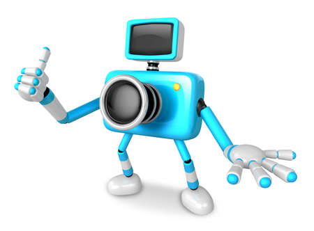 flash point: The Cyan Camera Character Taking the right hand is the best gesture. Instructed to gesture with the left hand is taking.  Create 3D Camera Robot Series.