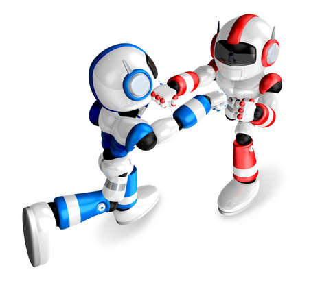 pugilism: The Blue robots and Red robot boxing matches. Create 3D Humanoid Robot Series. Stock Photo