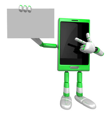 left hand: 3D Smart Phone Mascot the left hand guides and the right hand is holding a business cards. 3D Mobile Phone Character Design Series. Stock Photo