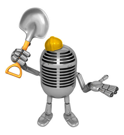 classical mechanics: 3D Classic Microphone Mascot the hand is holding a shovel. 3D Classic Microphone Robot Character Series.