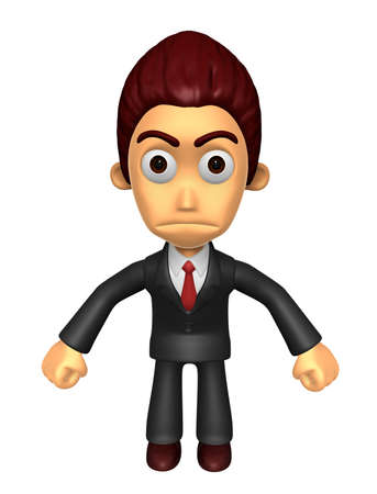 indignation: 3D Business man Mascot as a gesture of anger. Work and Job Character Design Series.