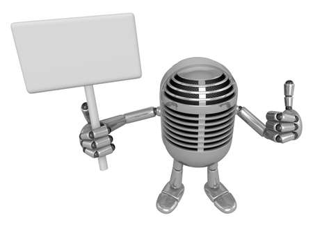 left hand: 3D Classic Microphone Mascot the right hand best gesture and left hand is holding a picket. 3D Classic Microphone Robot Character Series.