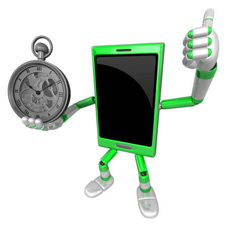 cellularphone: 3D Smart Phone Mascot the Right hand best gesture and Left hand is holding a pocket watch. 3D Mobile Phone Character Design Series.
