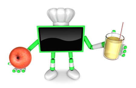 food preservation: Chef Green TV Character right hand, apple in the left hand holding a juice. Create 3D Television Robot Series.