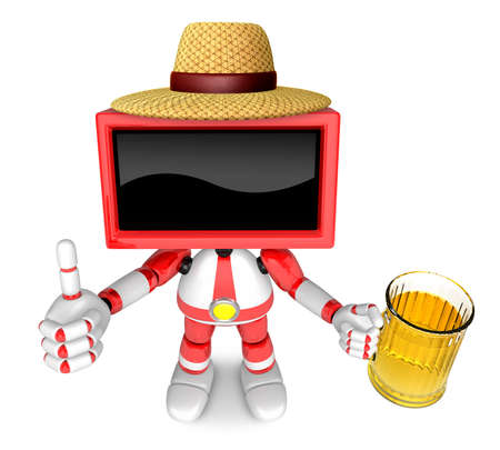 suds: Red TV farmer Mascot the left hand best gesture and right hand is holding a beer mug. Create 3D Television Robot Series. Stock Photo