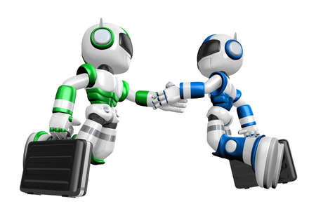 facing each other: Shake hands Blue robot and Green robot facing each other. Create 3D Humanoid Robot Series. Stock Photo