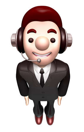 polite: 3D Business man Mascot is a polite greeting. Work and Job Character Design Series. Stock Photo