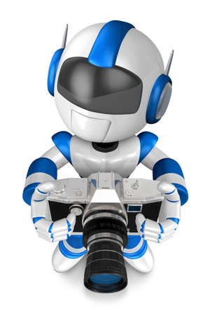 humanoid: Blue robot character the front to shoot the camera toward. Create 3D Humanoid Robot Series.