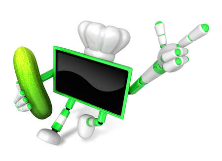 food preservation: Green TV Chef mascot the right hand guides and the left hand is holding a cucumber. Create 3D Television Robot Series.