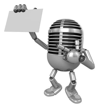 uneasiness: 3D Classic Microphone Mascot the right hand guides and the left hand is holding a business cards. 3D Classic Microphone Robot Character Series.