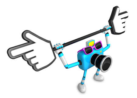 indicate: That sky blue Camera holding a large cursor indicate a direction. Create 3D Camera Robot Series.