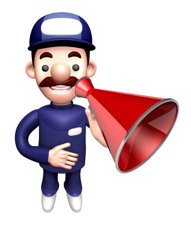 usher: 3D Service man Mascot the hand is holding a loudspeaker. Work and Job Character Design Series. Stock Photo