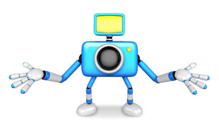nonsense: Nonsense blue Camera Character stretched out both hands. Create 3D Camera Robot Series. Stock Photo