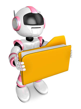 humanoid: Folder holding the pink robots. Create 3D Humanoid Robot Series. Stock Photo