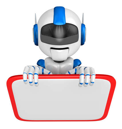 fidelity: Blue robot Character is holding a blackboard with both hands. Create 3D Humanoid Robot Series.