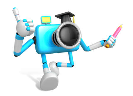 grasp: The best gesture of the left hand is taking Master Sky Blue Camera Character. The right hand grasp pencil. Create 3D Camera Robot Series.